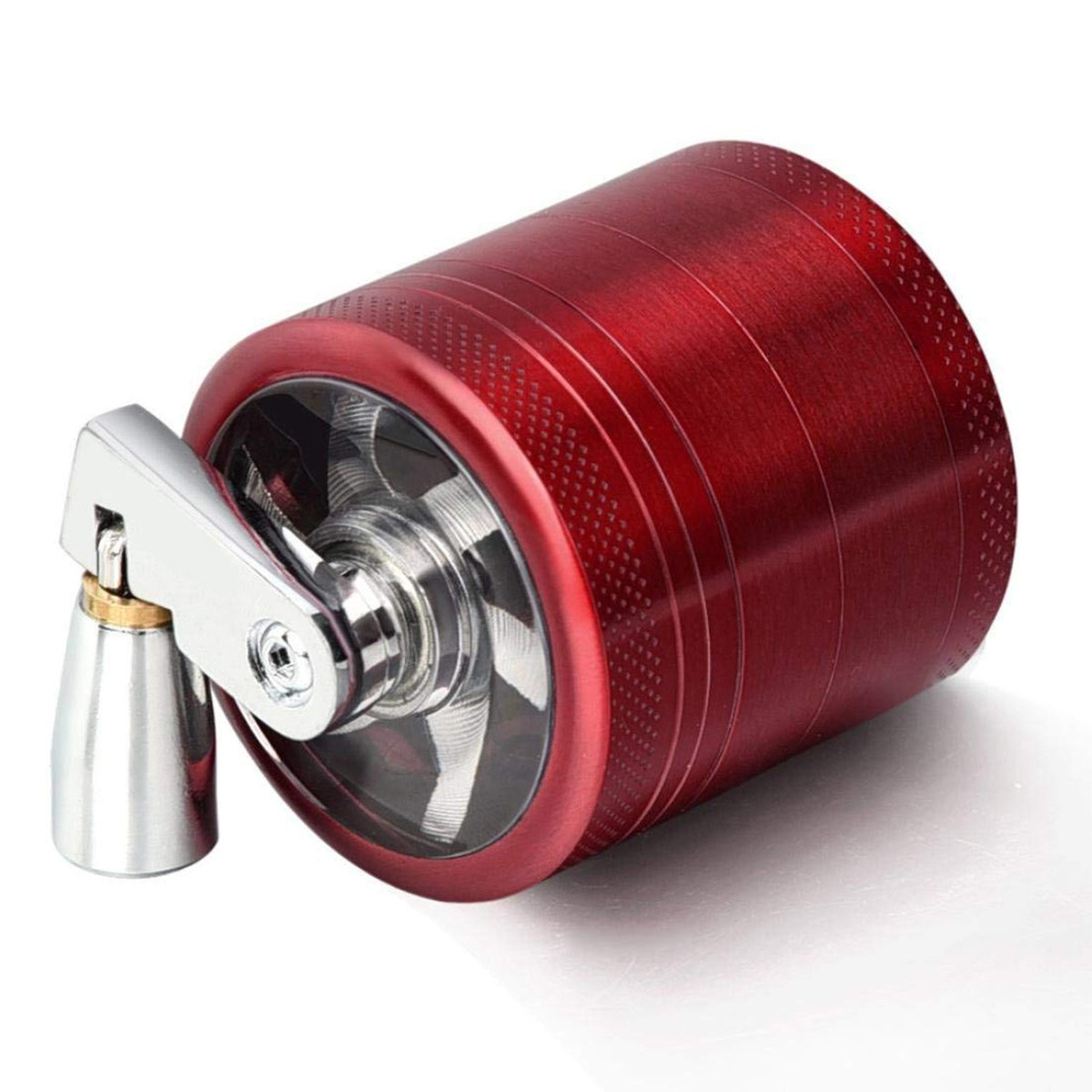4-layer Zinc Alloy Metal Herb Crusher Grinder with Mill Handle Spices Grinder Tobacco Leaf Crusher Smoke Muller 55mm
