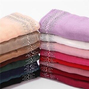 Image 3 - Ngọc Trai Sang Trọng Cotton Nữ Hijab Dưới Khăn Kèm Mũi Khoan Phụ Nữ Hồi Giáo Khăn Choàng Và Quấn Băng Đô Cài Tóc Turban Gọng Hồi Giáo Quần Áo Liền Khăn Trùm Đầu