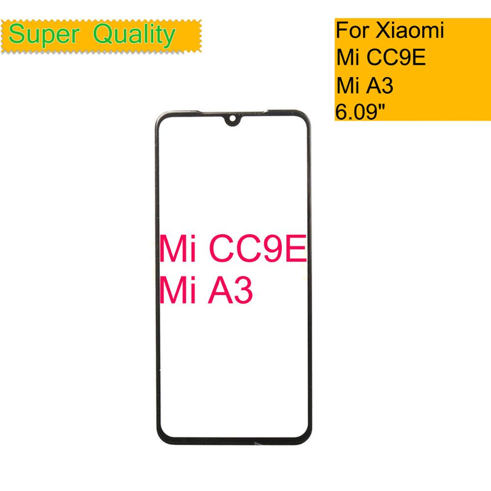 10Pcs/lot For Xiaomi Mi CC9E Touch Screen Panel Front Outer Glass Lens For Xiaomi Mi A3 Front Glass Touch Screen