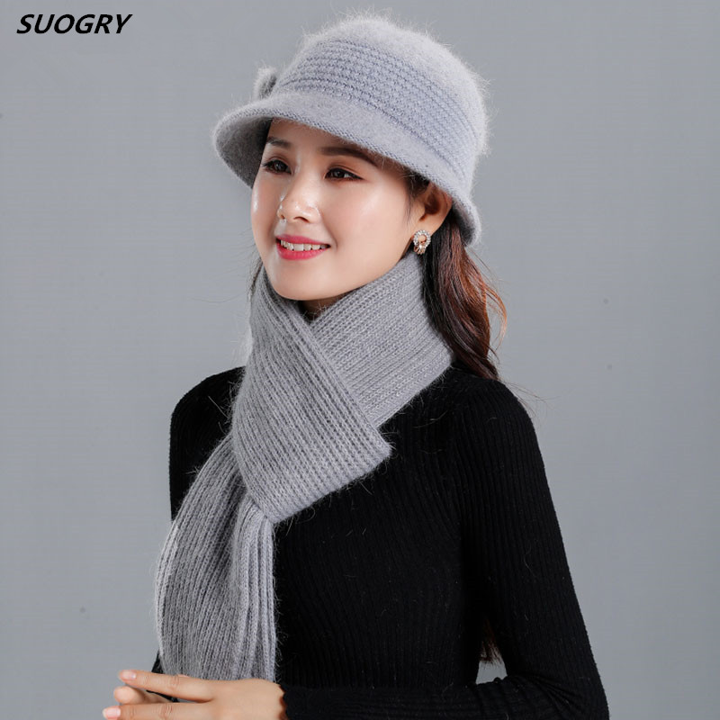 2019 Women Fashion Warm Rabbit Wool Scarf Female Hat Cap Grandma Warm Knitted Beanies Winter Velvet Mother Hat Scarf 2pcs Set