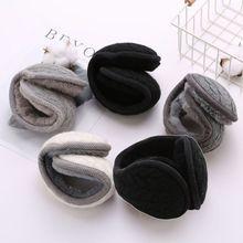 Вязаные зимние складные наушники с волнистыми полосками для женщин и мужчин; утепленные плюшевые теплые наушники; C6UD
