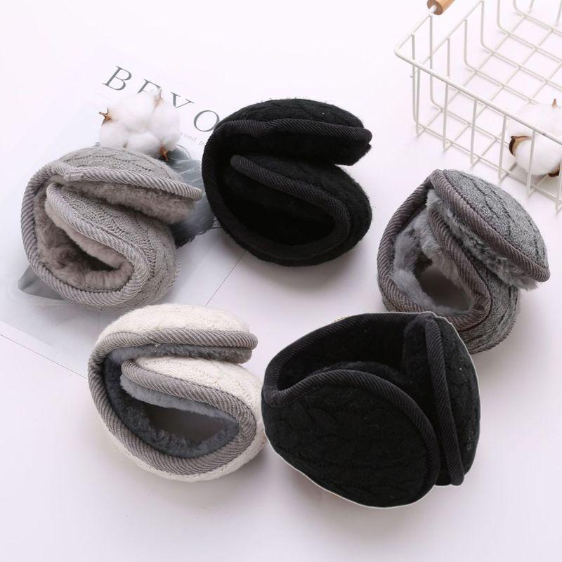 Women Men Wavy Stripes Knitted Winter Foldable Earmuffs Thicken Plush Ear Warmer C6UD