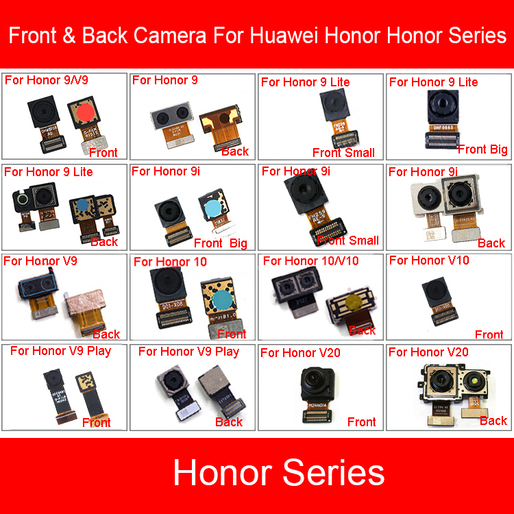 Front & Rear Main Camera For Huawei Honor View 9 9i 10 V9 Play V10 V20 Lite Front Back Camera Flex Cable Replacement Parts