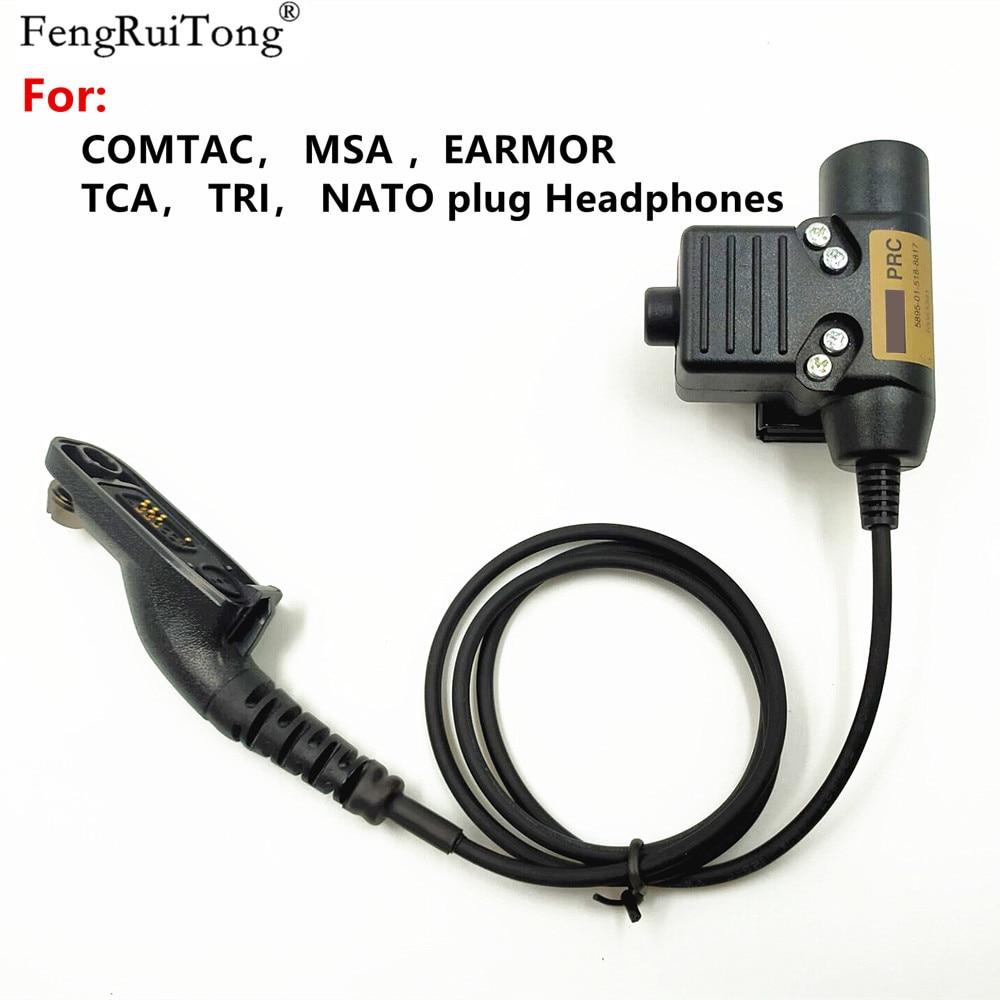 Tactical U94 PTT For COMTAC MSA EARMOR TCA TRI NATO Plug Headset For Motorola APX6000 XPR6300 DP4800 MTP6550 P8200 P8268 Radio