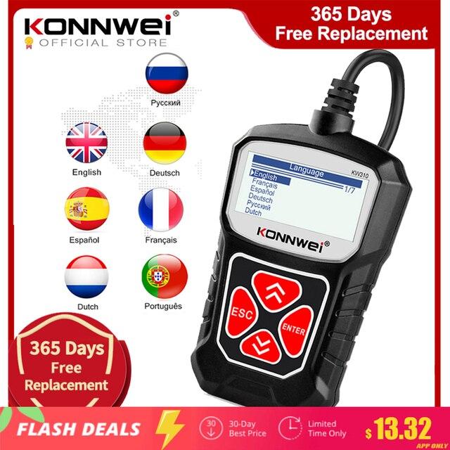 KONNWEI KW310 OBD2 skaner dla samochodowe OBD 2 skaner samochodowy narzędzie diagnostyczne skaner samochodowy narzedzia samochodowe język rosyjski PK Elm327
