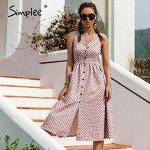 Simplee décontracté à pois robe sans manches vacances style taille haute boutonné femmes robe mode mi-longue robes d'été nouveau