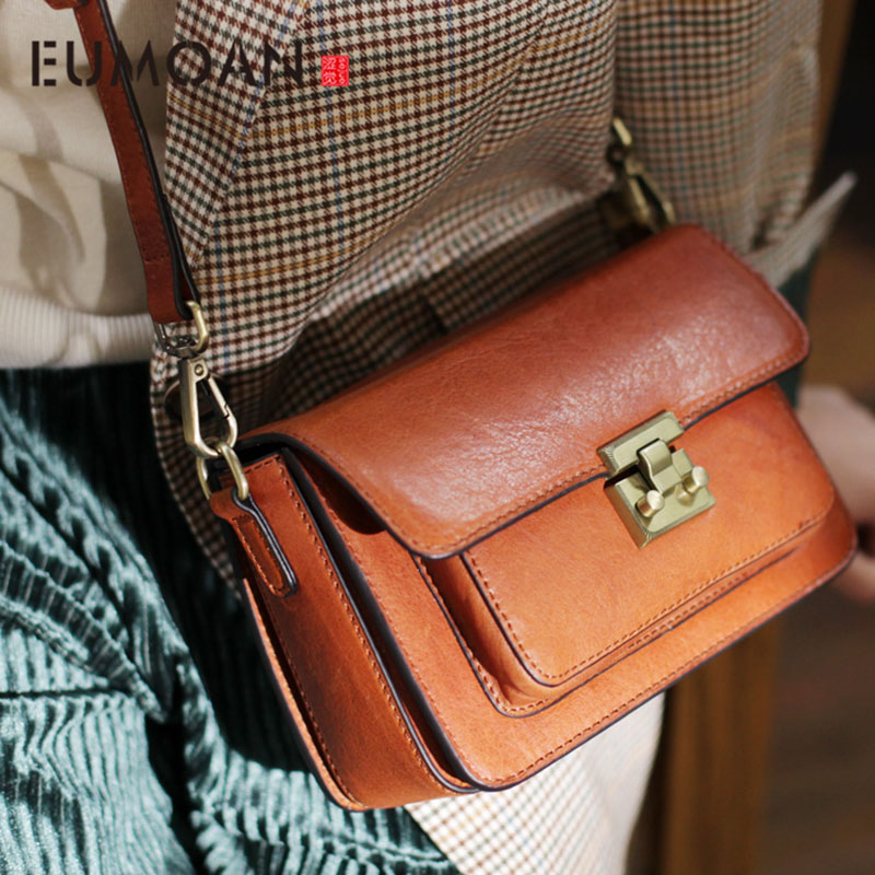 EUMOAN National wind woven color wide shoulder strap slanted small square bag, fashion cowhide lady small bag