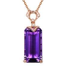 Collier ras du cou en améthyste pour femmes, pendentif carré en or violet 18k, couleur rose et diamant, bijoux cadeau de fête