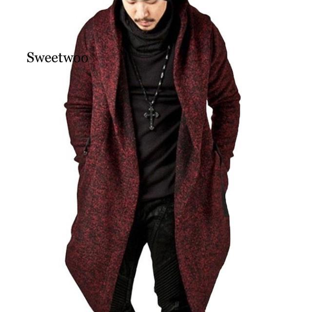 Фото мужское длинное пальто с капюшоном и асимметричным подолом повседневный цена