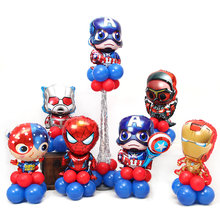 Super Hero Spiderman Iron man Batman America Stand Column Latex Foil Balloons Red Blue Boys Children Birthday Party Supplies Boy Baby Balloon Toys Favor(China)