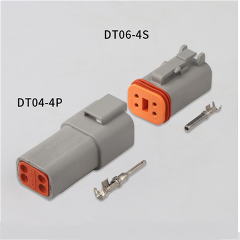<font><b>100</b></font> sets Kit Deutsch DT 4 Pin Waterproof Electrical Wire Connector plug Kit 22-16AWG DT06-4S DT04-4P image