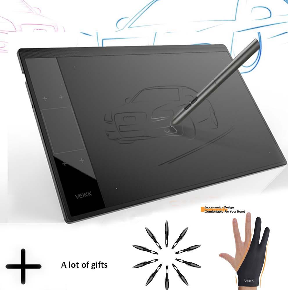 Veikk a30 tablet de desenho gráfico para ensino e aprendizagem em linha 10x6 polegadas grande área ativa almofada de desenho digital para artistas