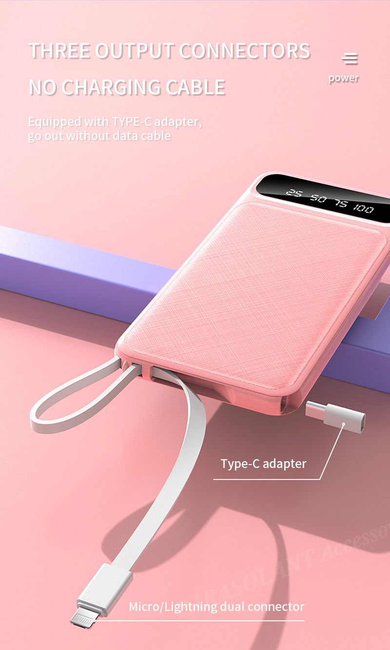 Portable 10000mAh Charging Power Bank For Xiaomi iPhone Samsung Mobile Phone 9