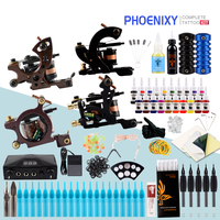 Complete Tattoo Machine Set Four Tattoo Machine 10 Color Pigment Lnks Black Power Permanent Makeup Tattoo Sets Water Tattoo