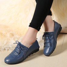 AARDIMI Genuine Leather Women Shoes Autumn Woman Flat Casual Female Shoes Rubber Ladie Lace-Up Flats Large Size Zapatos De Mujer