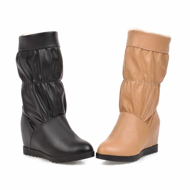 MORAZORA 2020 yeni kadın orta buzağı çizmeler yuvarlak ayak takozlar ayakkabı rahat basit kalın kürk sıcak kar botları kadın büyük boyutu 43
