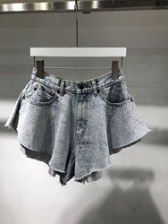 2020 Spring Summer Women High Waist Wide Leg Pants with Ruffled Flare Denim Shorts  A2