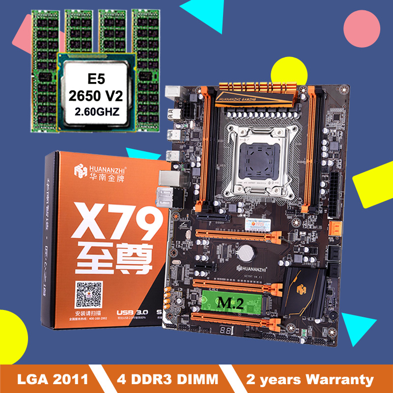 Discount HUANANZHI X79 deluxe motherboard with M.2 slot LGA2011 motherboard bundle with CPU Intel Xeon E5 2650 V2 RAM 16G(4*4G) 1