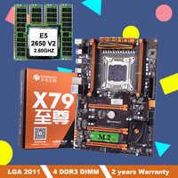 Descuento HUANANZHI X79 deluxe placa base con ranura M.2 LGA2011 Paquete de placa base con CPU Intel Xeon E5 2650 V2 RAM 16G (4*4G)