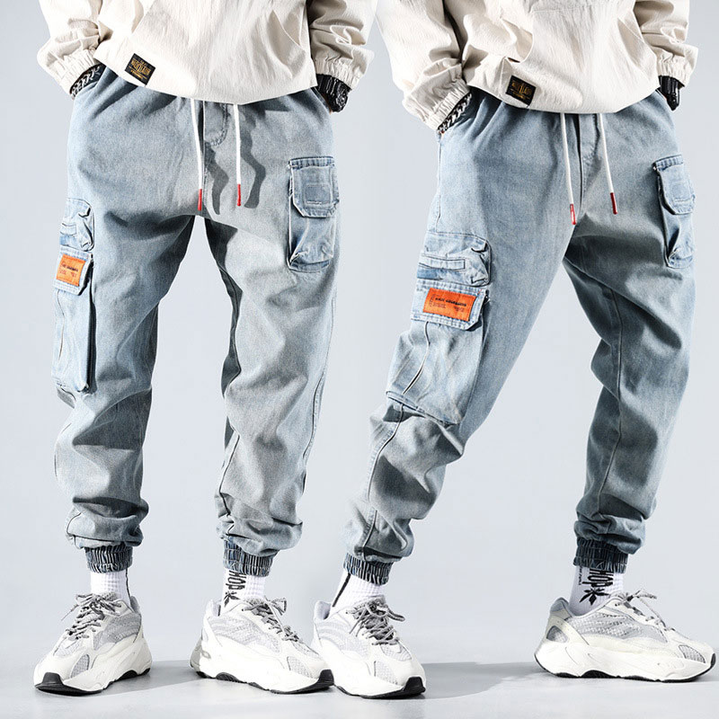 Fashion Streetwear Men Jeans Spliced Pocket Cargo Pants Light Blue Loose Fit Embroidery Designer Harem Jeans Hip Hop Jeans Men