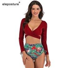 2020 Sexy A Vita Alta Bikini Costumi Da Bagno Delle Donne A Maniche Lunghe Costume Da Bagno Croce Bikini Set Solid Top Stampa Inferiore Costume Da Bagno Tankini XXL