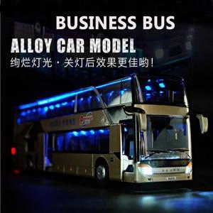 Image 2 - 1/32 合金ダイキャストダブルデッカーバス音と光バスモデル高シミュレーション金属高級バス車両のおもちゃ男の子