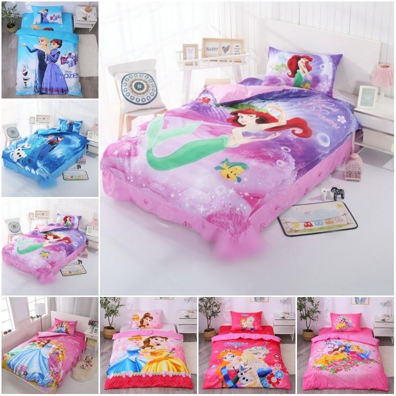 Disney Barbie Mermaid Princess Bedding Set 100% Cotton Duvet Cover Pillowcases For Baby Girls Kids Birthday Gift Bedclothes