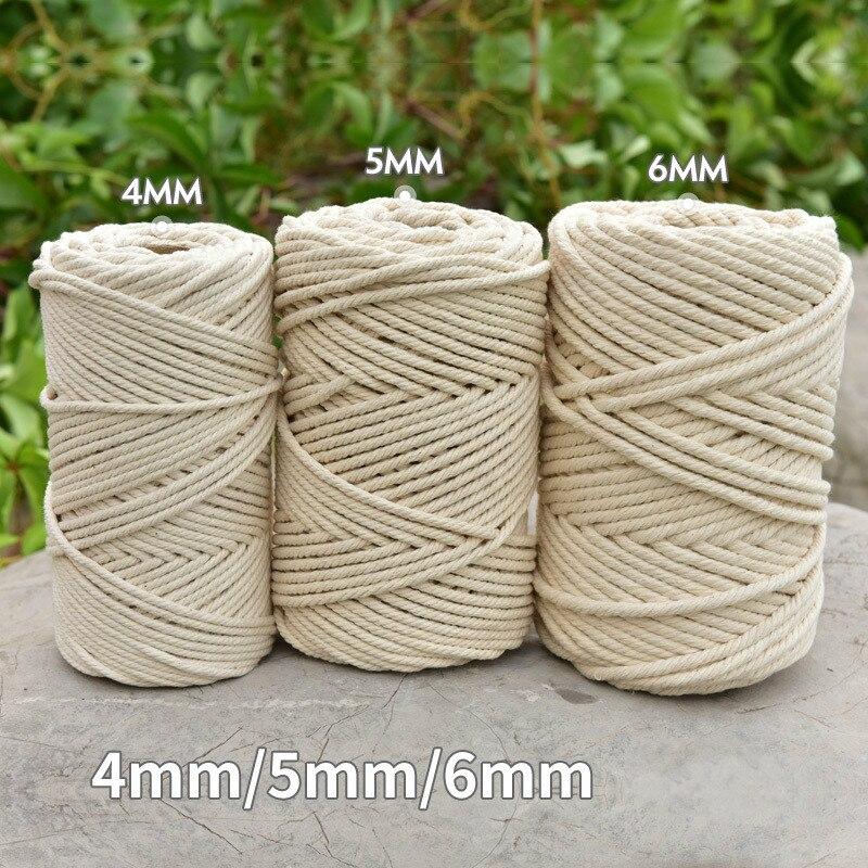 3 мм 4 мм 5 мм 6 мм веревка макраме витая нить хлопковый шнур для макраме ручная работа натуральный бежевый Шнур DIY домашний свадебный аксессуа...