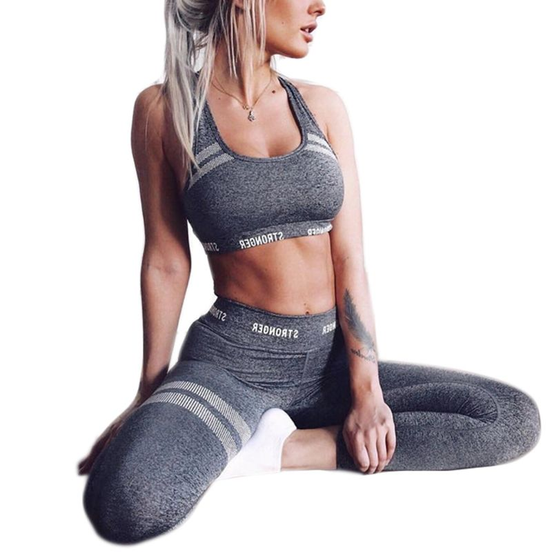 Women 2Pcs Sport Outfit Letters Seamless Crop Top Vest High Waist Leggings Honeycomb Striped Suit Fitness Workout Tracksuit
