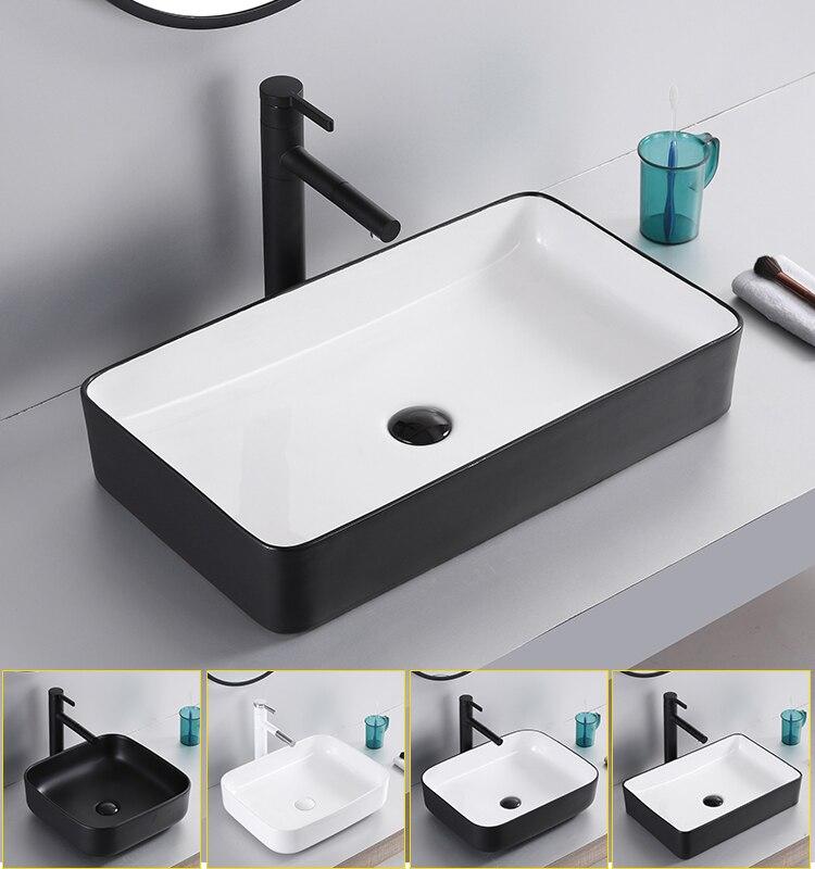 Керамическая раковина в скандинавском стиле, квадратная столешница, простые черные художественные раковины для ванной комнаты, миски для у...