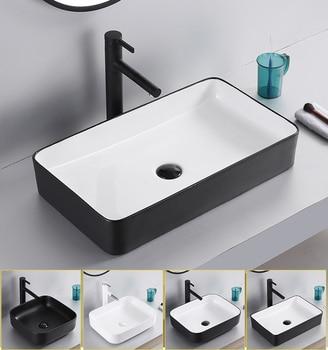 Nordic Ceramic Wash Basin Square Countertop Hand Basins Simple Black Bathroom Art Wash Basin Home Wash Sink Bowls Leather Bag