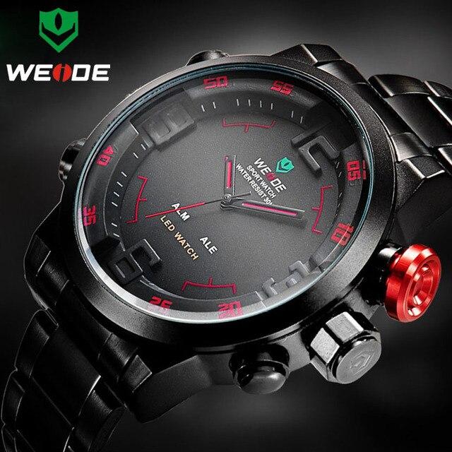 WEIDE luxe argent boîtier en métal bracelet ceinture mâle Quartz numérique chiffre led double alarme mode horloge décontractée Relogio Masculino