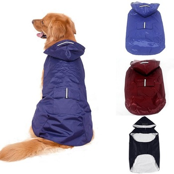 Pet's Hoodies Raincoat with Reflective Stripes Pet Outdoor Rain Jacket Poncho For Medium / Large Dog 1