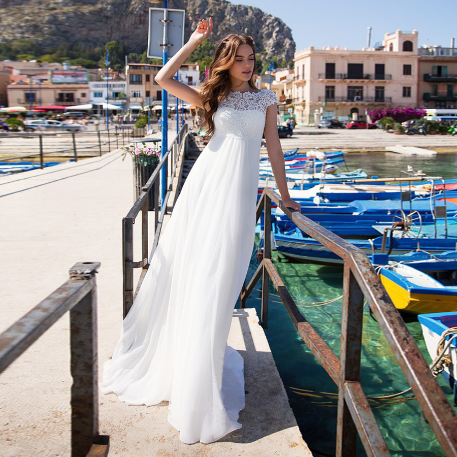 High Neck Lace Applique Empire Waistline White Beach Wedding Dress Sleeveless Backless Sweep Train Bridal Dress
