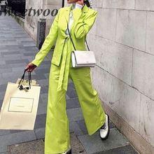 Women Office Blazer 2 Two Piece Set Sexy Solid Neon Orange Notched Collar Short