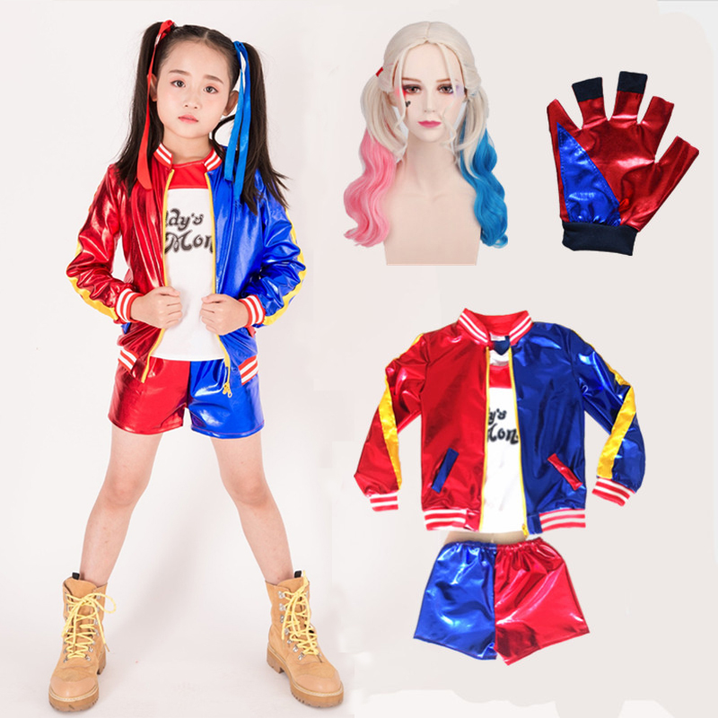 5pcs/set Harley Quinn Costumes,Girls Joker Suicide Squad Jacket Cosplay Child Kids Harley Quinn Fashion Batman Costume Suit Wigs