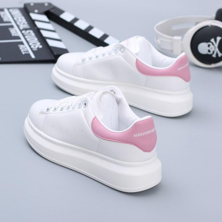 White Mens New Chic Low Top Platform Skate Shoes Women Casual Leisure Sneakers Men Zapatos De Hombre Streetwear