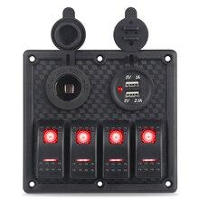 12 В 24 В кулисный переключатель панель 4 банды 3.1A USB зарядное устройство прикуриватель ВКЛ-ВЫКЛ Led Лодка переключатель панель морской автомобиль авто