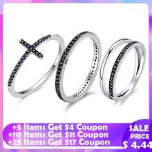 WOSTU autentyczne 925 Sterling Silver Finger wieżowych pierścienie z czarnym CZ dla kobiet moda biżuteria fajny prezent FIR114