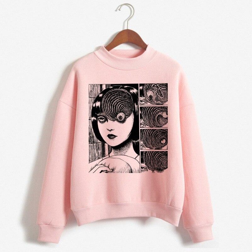 2019 Newest Autumn And Winter Manga Junji Ito Horry Hoodies Women Fashion Vintage Hoodie Womens Clothing 90s Harajuku Sweatshirt