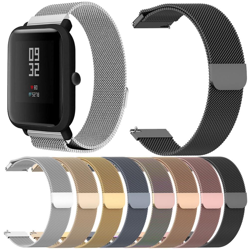 Essidi 20MM Milanese Band For Xiaomi Huami <font><b>Amazfit</b></font> Bip Bit Pace <font><b>Lite</b></font> Youth Stainless Steel Smart Bracelet <font><b>Strap</b></font> Watch Loop image