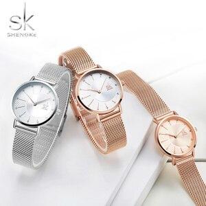 Image 1 - Shengke חדש Creative נשים שעונים יוקרה Rosegold קוורץ גבירותיי שעונים Relogio Feminino רשת להקת שעוני יד Reloj Mujer