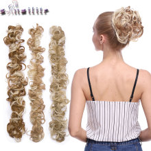 S-noilite эластичная резинка чистая кудрявая шиньон с двумя пластиковыми расческами Updo покрытие волос пучок афро шиньон волос Синтетический шиньон