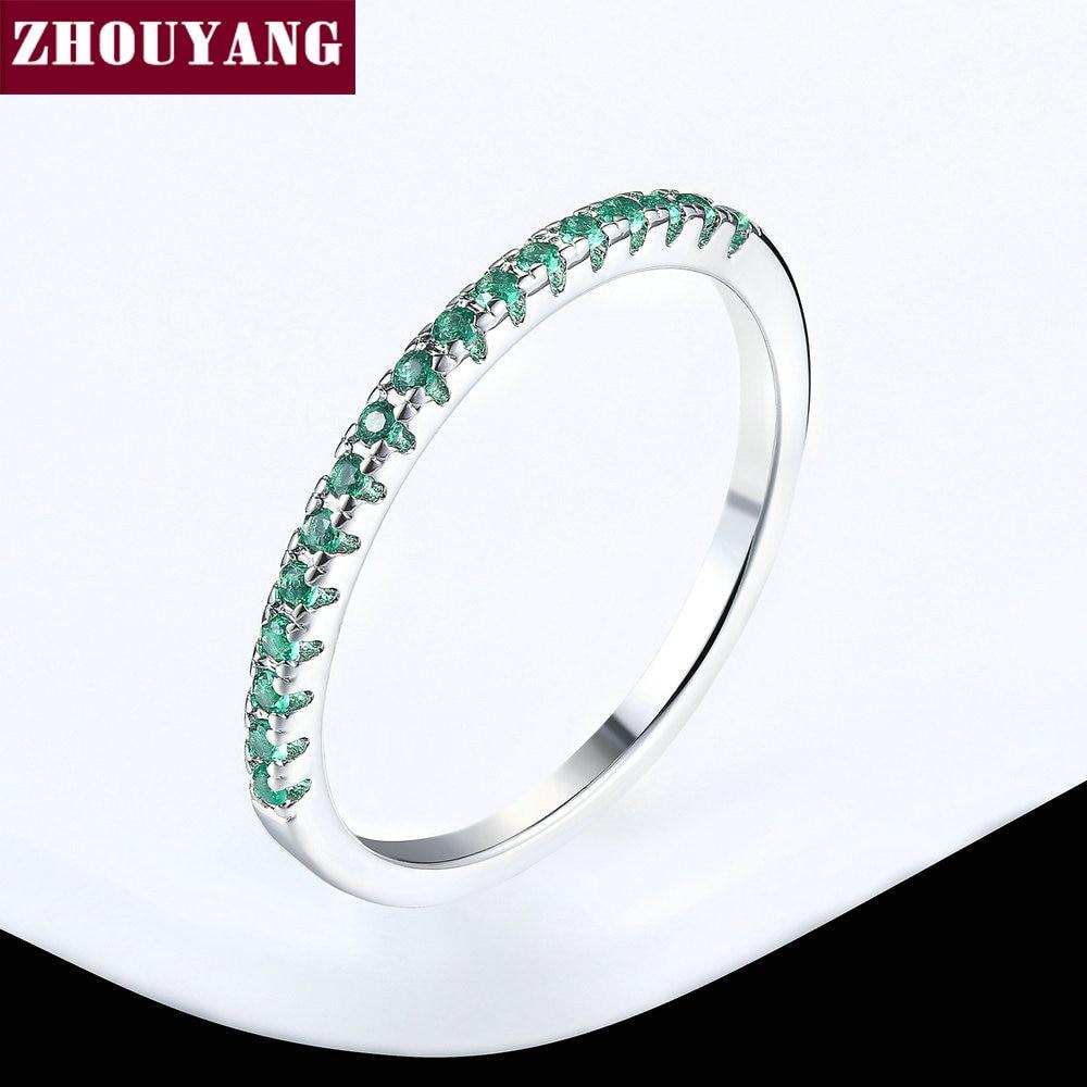 ZHOUYANG обручальное кольцо для женщин и мужчин лаконичное классическое многоцветное мини кубическое циркониевое розовое золото цвет подарок модное ювелирное изделие R251 - Цвет основного камня: R135