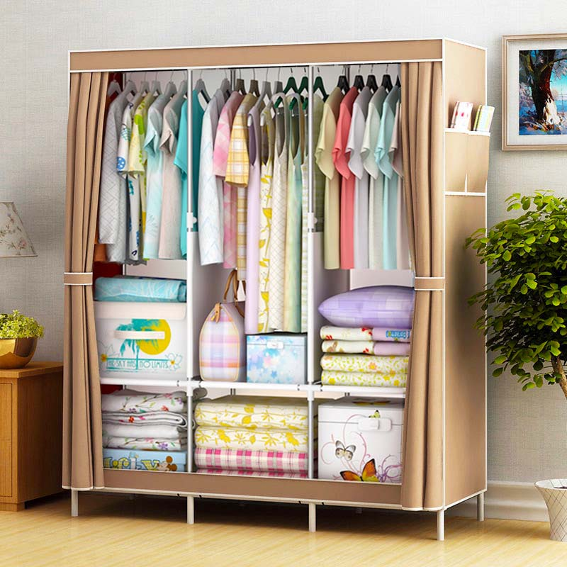 Simple Wardrobe Fabric Folding Clothes Storage Cabinet DIY Assembly Reinforced Frame Bedroom Organizer Home Dorm Clothing Closet