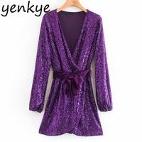 Fashion Women Cross V Neck Wrap Sequin Dress Lady Long Sleeve With Belt A line Mini Christmas Party Dress XNGC9607