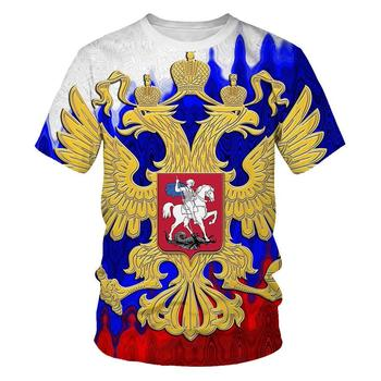 Russia national emblem 3D printing coat Tshirt newest paragraph Eagle personality Short sleeve T-shirt fashion Men Selling shirt