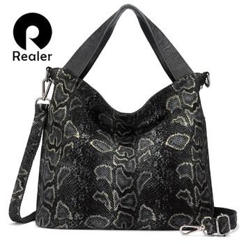 REALER Genuine Leather Handbag Women Wild Serpentine Prints Tote Bag Female Shoulder Bags with Tassel Lady Classic Crossbody