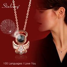 SINLEERY seni seviyorum kolye 100 dil 2 renk gerdanlık zincir küçük melek kolye kadınlar için genç kız takısı XL589 SSA