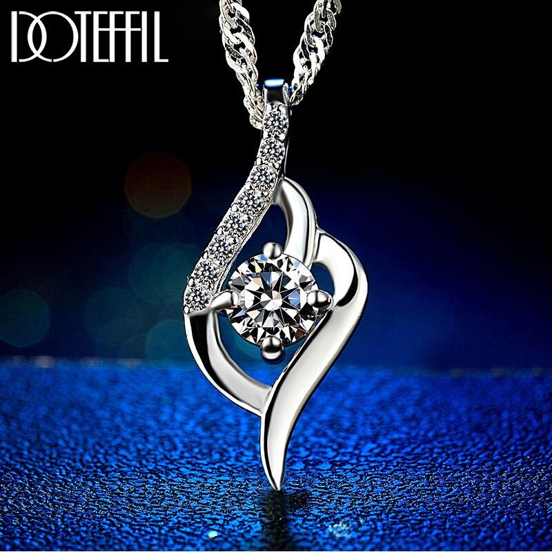 Herz Halskette 925 Silber Frauen Mode Charme Herz Anhänger 100% Silber Halskette AAAA Zirkon Marke Schmuck